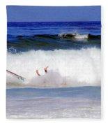 Surfers At Asilomar State Beach Three Oopsy Daisy Fleece Blanket