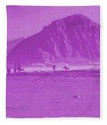 Surfers On Morro Rock Beach In Purple Fleece Blanket