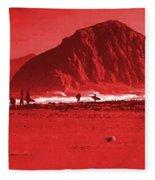 Surfers On Morro Rock Beach In Red Fleece Blanket