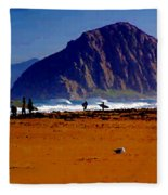 Surfers On Morro Rock Beach Fleece Blanket