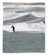 Surfing At Sennen Cove Cornwall Fleece Blanket