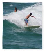 Surfing The White Wave At Huntington Beach Fleece Blanket