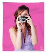 Surprised Woman Taking Picture With Old Camera Fleece Blanket
