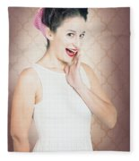Surprised Woman With Brunette Hair And Red Lips Fleece Blanket
