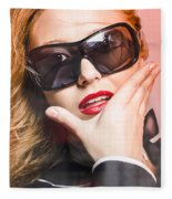 Surprised Young Woman Wearing Fashion Sunglasses Fleece Blanket