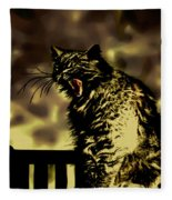 Surreal Cat Yawn Fleece Blanket