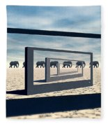 Surreal Elephant Desert Scene Fleece Blanket