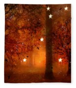 Surreal Fantasy Autumn Woodlands Starry Night Fleece Blanket