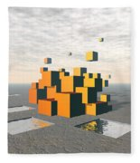 Surreal Floating Cubes Fleece Blanket