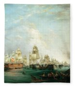 Surrender Of The Santissima Trinidad To Neptune The Battle Of Trafalgar Fleece Blanket