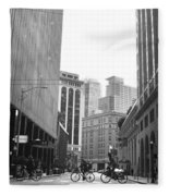 Sutter Street Cyclists - San Francisco Street View Black And White  Fleece Blanket