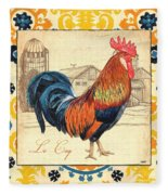 Suzani Rooster 2 Fleece Blanket