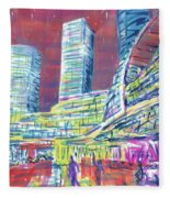 Suzhou Center Mall In The Rain, East Side, Suzhou, China Fleece Blanket