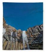 Svartifoss Waterfall, Iceland Black Fleece Blanket