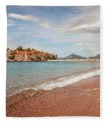 Sveti Stefan Island Iconic Landmark Fleece Blanket
