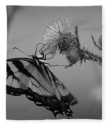 Swallowtail Black And White Fleece Blanket