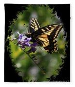 Swallowtail Butterfly 1 With Swirly Frame Fleece Blanket