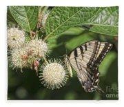 Swallowtail With Flowers Fleece Blanket