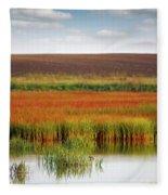 Swamp And Field Landscape Autumn Season Fleece Blanket