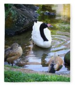 Swan And Wood Ducks Fleece Blanket