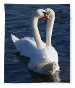 Swan Courtship  Fleece Blanket