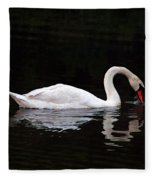 Swan Drinking Fleece Blanket