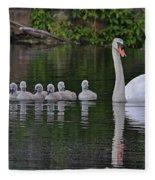 Swan Family Portrait Fleece Blanket
