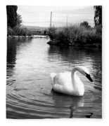 Swan In Black And White Fleece Blanket
