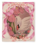 Swan In Pink Card Fleece Blanket