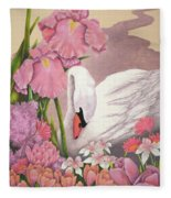 Swan In Pink Fleece Blanket