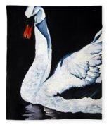 Swan In Shadows Fleece Blanket