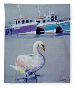 Swan Lake With Pleasure Boats Fleece Blanket