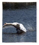 Swan Landing 3 Fleece Blanket