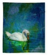 Swan On A Blue And Green Lake Fleece Blanket