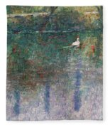 Swan On Town Lake - Now Lady Bird Lake Fleece Blanket