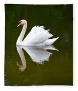 Swan Reflecting Fleece Blanket