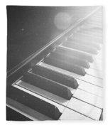 Swan Song Music Piano Keys Black And White Fleece Blanket