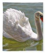 Swan Swimming By Fleece Blanket