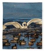 Swan Wings Reach Fleece Blanket