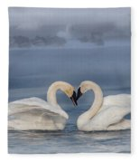 Swan Valentine - Blue Fleece Blanket