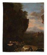 Swanevelt, Herman Van Woerden, 1603 - Paris, 1655 Landscape With Saint Benedict Of Nursia 1634 - 163 Fleece Blanket