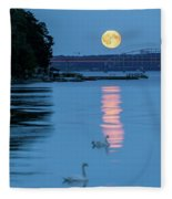 Swans And The Moonrise In Stockholm Fleece Blanket