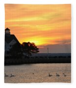 Swans At Sunrise  Fleece Blanket