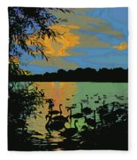 Swans At Sunset Fleece Blanket