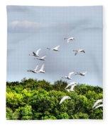 Swans In Flight Fleece Blanket