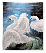Swans In Love Fleece Blanket