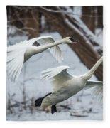 Swans Landing Fleece Blanket