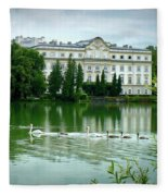 Swans On Austrian Lake Fleece Blanket