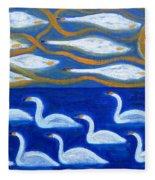 Swans Fleece Blanket