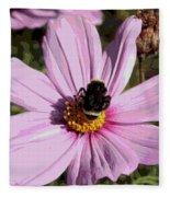 Sweet Bee On Pink Cosmos - Digital Art Fleece Blanket